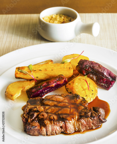 Delicious meat Wagyu Beef With Potatoes angle view - 217528838