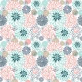 Stylized chamomile and dahlias. Seamless pattern.