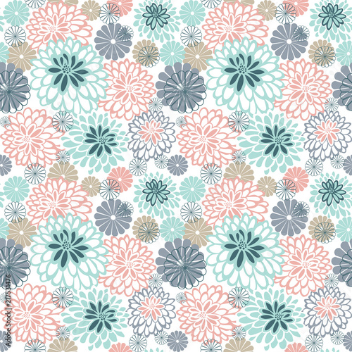 Stylized chamomile and dahlias. Seamless pattern. - 217531476