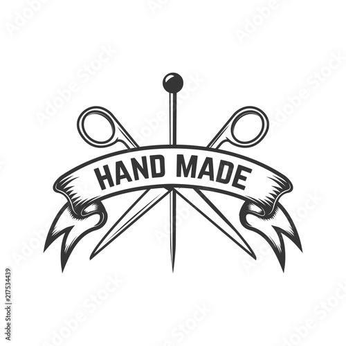 handmade emblem template with scissors and needles design element