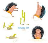 Different cartoon hedgehogs set. Yoga set. Yoga position. Hedgehog doing yoga. Vector cartoon illustration isolated on white.