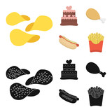 Cake, ham, hot dog, French fries.Fast food set collection icons in cartoon,black style vector symbol stock illustration web. - 217540007