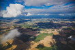 aerial view of Ireland with fields and meadows in dry conditions - 217540215