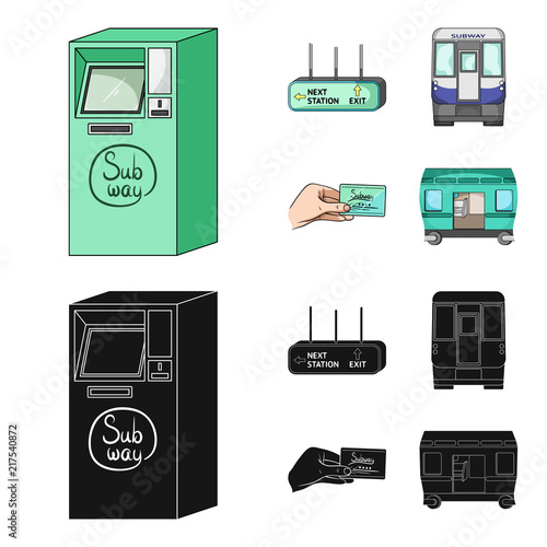 Fotobehang Auto Transport, public, train and other web icon in cartoon,black style.Equipment, attributes, mechanism icons in set collection.