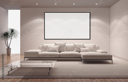 Modern bright interiors apartment with mockup poster frame 3D rendering illustration - 217544013