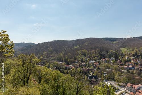 Canvas Blauwe hemel Landschaft um Wernigerode mit Gebirge