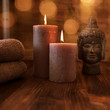 Quadro Wellness decoration with candles and buddha face