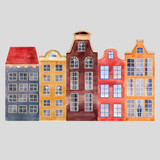 Watercolor vector city houses - 217558226