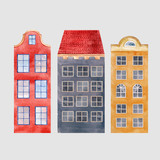 Watercolor vector city houses - 217558281