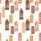 Seamless vector pattern old european city houses - 217558417