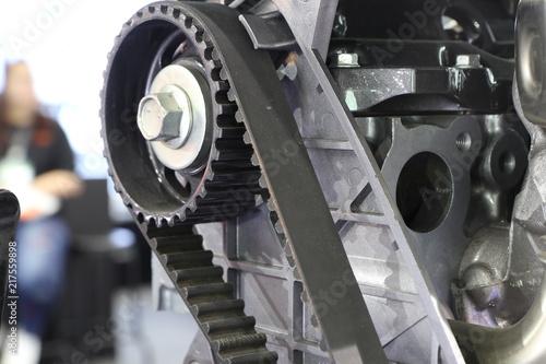 Diesel Engine timing belt ; close up