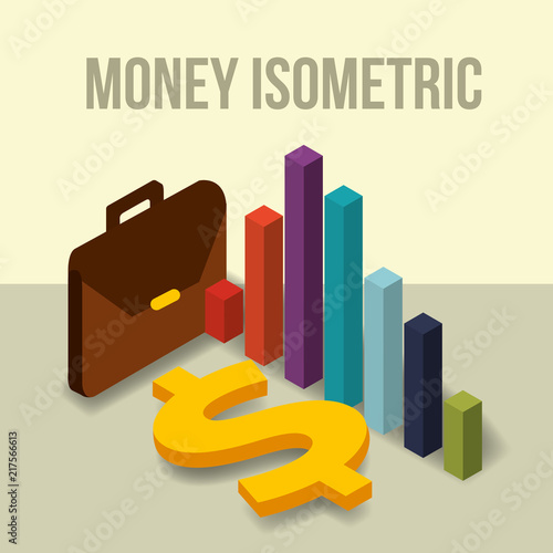 Fridge magnet business briefcase diagram and dollar money vector illustration isometric