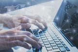 international business network worldwide, digital marketing and e-commerce, global communication background, hands typing on computer keyboard, blockchain - 217569079