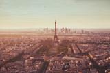 Paris aerial view with Eiffel Tower, famous landmark in Europe, romantic travel destination - 217569465