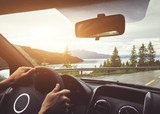 driving car in Norway, roadtrip, hands of driver on steering wheel - 217569473