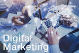 digital marketing concept, hands of business team people working on computer - 217569653