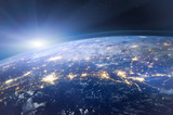 beautiful planet Earth seen from space, aerial view of night lights, original image furnished by NASA - 217569688
