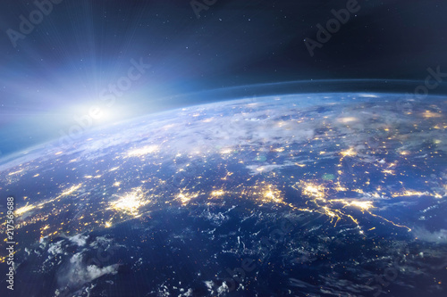 Foto Murales beautiful planet Earth seen from space, aerial view of night lights, original image furnished by NASA
