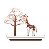 Giraffe wild animal cartoon vector illustration graphic design