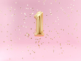 One year birthday. Number 1 flying foil balloon and confetti. One-year anniversary background. - 217570259