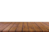 Empty wooden table top on isolated white, Template mock up for display of product. - 217570899