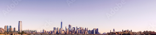 New York  City Skyline Panorama with colorful sky at sunset - 217571443