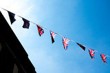 British & English national flag at the restaurant and pub, London - 217571881