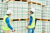 Back view of two men in helmets and waistcoats looking at stack of building materials during inspection on construction site - 217572658