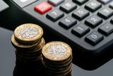 New British one pound coin in studio - 217573222