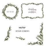 Rosemary design elements. Wedding invitation templates, frame, wreath. Vector. - 217579693