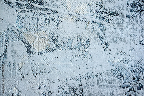 Foto Spatwand Betonbehang The original background of natural cement plaster on the blue textured wall with cracks