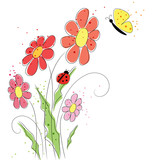 vector background with ladybird and butterfly