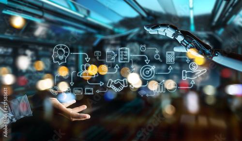 Leinwanddruck Bild White humanoid creating artificial intelligence interface