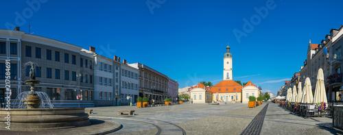 Zdjęcia na płótnie, fototapety na wymiar, obrazy na ścianę : Town hall and fountain on the Kosciuszki market in Bialystok, Podlaskie, Poland
