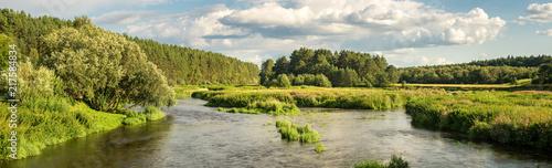 панорама летнего пейзажа на берегу уральской реки с лесом, Россия, август  - 217584834