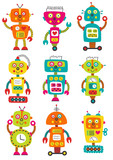 set of isolated colorful robots - vector illustration, eps