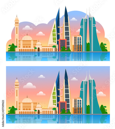 Poster Travel to Bahrain. Manama. Beautiful morning panoramic view. Vector illustration