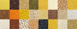 Collection of different cereals, grains, rice and beans backgrounds. - 217594609