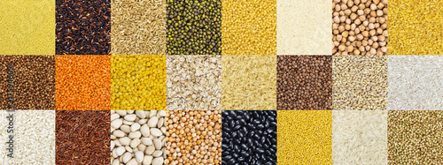mata magnetyczna Collection of different cereals, grains, rice and beans backgrounds.