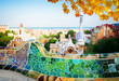Gaudi bench and cityscape of Barcelona from park Guell, famous view of Barcelona, Spain at fall