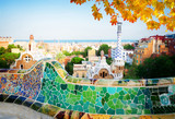 Gaudi bench and cityscape of Barcelona from park Guell, famous view of Barcelona, Spain at fall - 217597691