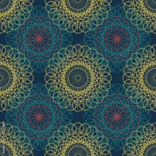 Mandala seamless ancient geometry pattern. Golden round ornament decoration of line art of flower with stylized Chakra symbol for yoga complex flourish weave medallion. Tattoo print. - 217604640