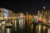 Night view by Rialto bridge in Venice