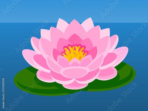 Pink Lotus Flower Asian Flower Vector Flat Illustration Buy