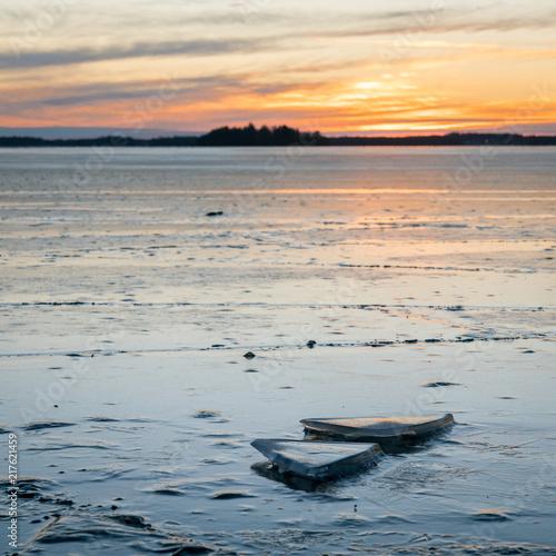 Canvas Zee zonsondergang Ice triangles