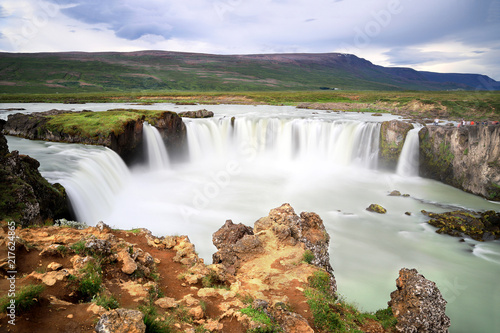 Foto Murales Beautiful top view of the Godafoss waterfall in summer time, Iceland