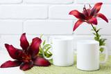 Two coffee mug mockup with burgundy lily - 217628088