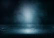 Leinwandbild Motiv Background of an empty dark room. Empty walls, lights, smoke, glow, rays