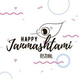 Happy Janmashtami festival typographic vector design.