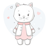 Kitty cute print. Sweet baby girl shower card.